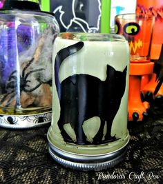 Halloween Glow-in-the-Dark Mason Jars
