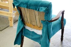 How to Upholster a Chair: Part The Inside Back Reupholster Furniture, Upholstered Furniture, Furniture Making, Painted Furniture, Diy Furniture, Diy Sofa Cover, Sofa Covers, Chair Parts, Diy Chair