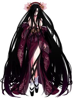 absurdly long hair bare shoulders black eyes black hair breasts cleavage hair censor hair over one eye highres japanese clothes kejourou kejourou (monster girl encyclopedia) kenkou cross kimono large breasts legs crossed long hair monster girl monste Fantasy Character Design, Character Design Inspiration, Character Art, Sucubus Anime, Anime Demon, Anime Art Girl, Manga Girl, Girls Characters, Anime Characters