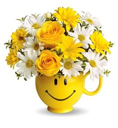 Order Teleflora's Be Happy® Bouquet with Roses - from Emma's Flowers & Gifts, Inc., your local Nashville florist. For fresh and fast flower delivery throughout Nashville, TN area. Thank You Flowers, Happy Flowers, Cut Flowers, Fresh Flowers, Get Well Gifts, Mellow Yellow, Wedding Anniversary Gifts, Wedding Vows, Wedding Venues