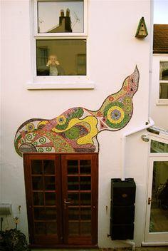 Outside wall mosaic-patio garden
