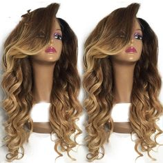 "100% Brazilian Remy Human Hair Lace Front Wig Full Lace Wig Ombre Color 16""-24"" #HotQueen #FullWig"
