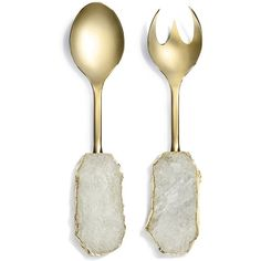 Anna New York Scossa Crystal Salad Servers - Set of 2 - Gold (£255) ❤ liked on Polyvore featuring home, kitchen & dining, kitchen gadgets & tools, gold, crystal spoon, gold plated utensils, gold utensils, gold spoon and anna new york