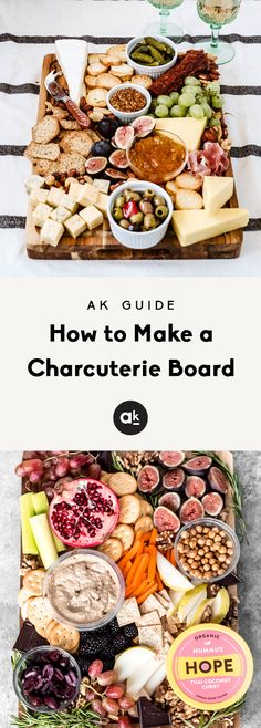 How to make a charcuterie board two different ways! These easy, beautiful charcuterie boards have a meat & cheese focus and a vegan option, and are perfect for the holidays. With a few quick tips and tools you can easily customize them! #appetizerideas #appetizers #cheeseboard #charcuterieboard #charcuterie