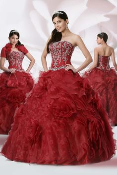 Ball Gown Strapless Floor Length Qinceanera Dresses Embroidery With Beading Sequins