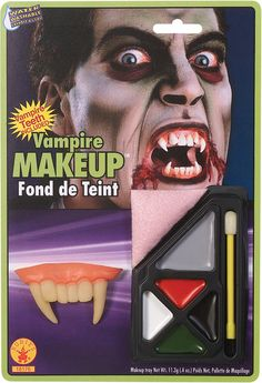Vampire Makeup Kit (includes 5 color palette, an applicator and sponge; washable with water and soap; nontoxic)