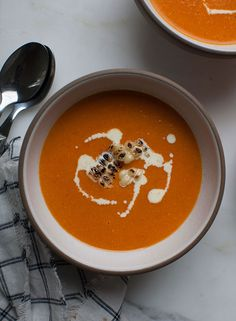 Spicy Roasted Tomato and Corn Soup recipe from PBS Food  (chicken broth, dairy garnish)