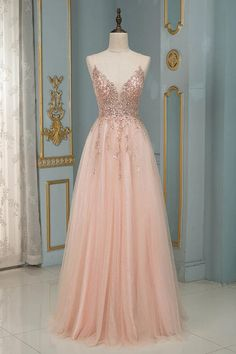 Looking for designer prom dress online? Check out this sequins v-neck long formal dress at ballbella, fast delivery worldwide. Stunning Prom Dresses, Pretty Prom Dresses, Prom Dresses For Sale, Beautiful Dresses, Prom Dresses Long Pink, Best Prom Dresses, Blush Prom Dress, Dress Prom, Vintage Prom Dresses