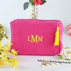 Love these personalized Bridesmaid gift ideas for under $20. Monogrammed Waffle Cosmetic Bag with Tassel