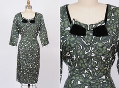 1950s dress/ 50s cocktail dress/ large by shopKLAD on Etsy