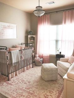 Finished nursery for our baby girl! Rose, blush, ivory, and gray with an iron crib!
