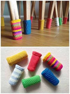 How to make woolly chair socks and stop scratching the floors? - Love Crochet - - How to make woolly chair socks and stop scratching the floors? – Love Crochet – How to make woolly chair socks and stop scratching the floors? Crochet Home, Love Crochet, Crochet Crafts, Yarn Crafts, Knit Crochet, Diy And Crafts, Crochet Socks, Single Crochet, Crochet Baby