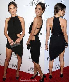 Cortes, recortes e decotes de Alessandra Ambrósio de vestido Anthony Vaccarello.no red carpet do Fashion Los Angeles Awards 2016