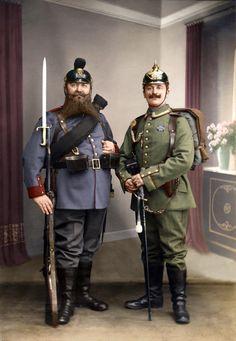 Photo recolorée de soldats allemands, 1913