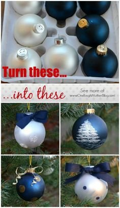 Dec 2013 Turn inexpensive plain bulb ornaments into a hand-painted designer ornament set! Beautiful Christmas ornaments can even make a great gift idea! Painted Christmas Ornaments, Noel Christmas, Diy Christmas Ornaments, Homemade Christmas, Christmas Crafts, Christmas Ideas, Ball Ornaments, Diy Weihnachten, Xmas Decorations