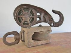 Antique Pulley Wood Barn Boat Pulley Primitive Rustic Decor Industrial Chic