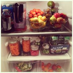 A twist on the typical #Shelfie - Mason jar fridge organization
