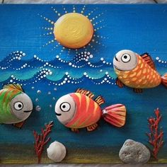 Painted with high quality Acrylic paints and finished with Glossy varnish protection. Stone Crafts, Rock Crafts, Diy Arts And Crafts, Crafts For Kids, Pebble Painting, Pebble Art, Stone Painting, Painted Rocks Craft, Rock Painting Designs