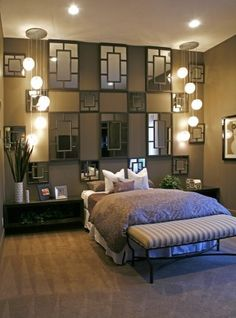"""Love the detail on the wall over the bed...would make it """"less modern"""", but still some good ideas"""