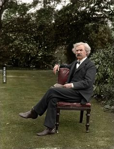 Mark Twain lounging in the garden, ca. 1899-1901, colorized