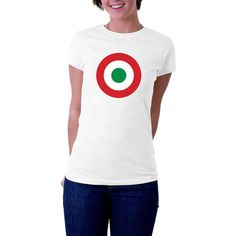 Another take on our ever-popular, ever-trendy roundel series. This one is the colours of the super smart and super cool #Italian #Air Force. Red White and Green, this time. N... #clothing #women #tshirt #italy #airforce #military #mod #fashion #italian #scooter #europe #retro #air #trendy