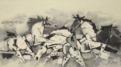 Oil on canvas picture of horses by MF Husain in 1969