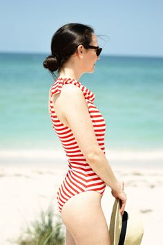 Striped One-Shoulder One-Piece