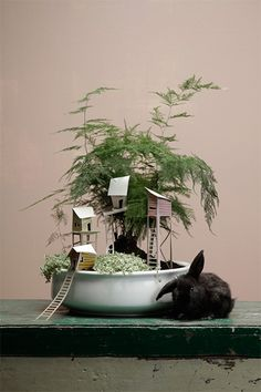cottage town paper potplant houses | frankie magazine