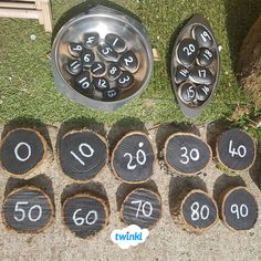 Y Maths: Counting Logs! Fantastic D.Y counting logs, perfect for an outdoor play area. Outdoor Learning Spaces, Kids Outdoor Play, Outdoor Play Areas, Outdoor Education, Outdoor Playground, Maths Eyfs, Eyfs Classroom, Outdoor Classroom, Number Activities