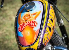 Custom chopper motorcycle gas tank | Airbrush Rockin' Jelly Bean inspired illustration