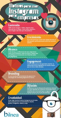 Motivos para usar Instagram para tu Empresa #infografia