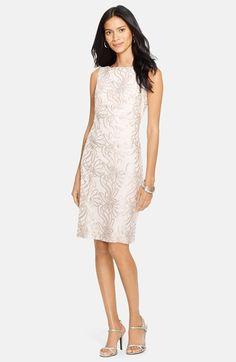Lauren Ralph Lauren Bateau Neck Floral Sequin Sheath Dress available at #Nordstrom - blush color - rehearsal dinner dress