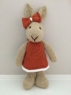 Knitted Bunny Rabbit Stuffed Toy in Dress  by EightLittleFingers