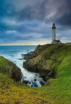 Pigeon Point Lighthouse on a Stormy Evening - San Mateo Coast, California