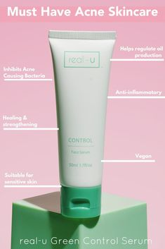 Step 2 in our 3-Step program. Our green CONTROL Acne Serum is the best and most popular option for most skin types for clearing pimples gently and effectively. Containing our patented marine-complex salt, this product delivers the key benefits to help break the acne cycle and importantly helps rebuild the health of your skin. Hero product and best seller!