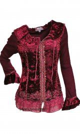 Pretty Angel Clothing Crushed Velvet Top-Cardigan In Burgundy at Styles2you.com