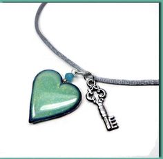 Key to my Heart Necklace polymer clay jewelry by BeadazzleMe $16. #hearts #jewelry # fashion #pendant