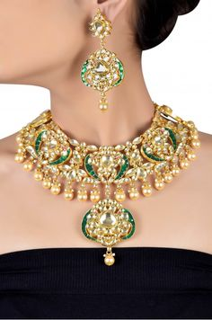 Silver Gold Plated Pan Pattern Crystal Pearl Drop Necklace Set