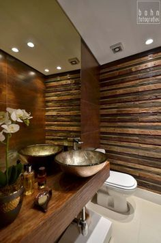 This half bath is japanese modern because of the use of decorations. I like the wooden wall and how it brings texture to the room. Beautiful Bathrooms, Modern Bathroom, Small Bathroom, Bathroom Interior Design, Interior Decorating, Ideas Baños, Welcome To My House, Bath Remodel, Inspired Homes