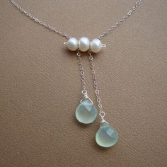 Pearl Lariat with Chalcedony  Briolettes- all STERLING SILVER bridal jewelry wedding necklace, everyday wear by lizix26