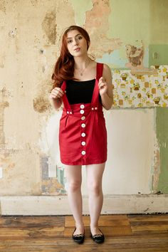 Etsy listing at https://www.etsy.com/listing/124355423/sale-red-suspenders-skirt-small-size-2