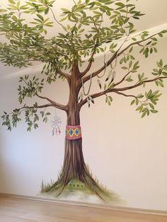 Indianenkamer muurschildering atelier 15 babykamer www.atelier15.nl