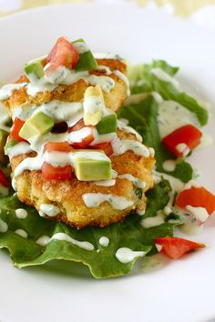 corn cakes and tomato avocado relish