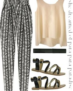 patterned pants, black and white plus...