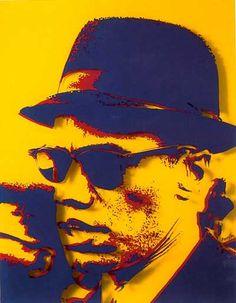 Bernard Rancillac ,Malcolm X . Impression sur plexiglas, 1968.
