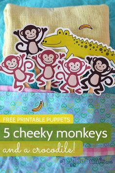 5 cheeky monkeys and a crocodile - free printable puppets and two songs to sing while you play with your kids Preschool Songs, Preschool Literacy, Kindergarten, Kids Songs, Early Literacy, Toddler Activities, Preschool Activities, Book Libros, Five Little Monkeys