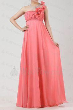 Chiffon One Shoulder Floor Length Empire Prom Dress with Handmade Flowers [2479] - $325.00 : Wedding Dresses