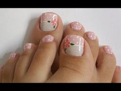 UNHAS DECORADAS EM ROSA PARA OS PÉS - YouTube Foot Pedicure, Pedicure Nails, White Pedicure, Pedicure Designs, Toe Nail Designs, Witchy Nails, Pretty Toe Nails, Sassy Nails, Nails Only