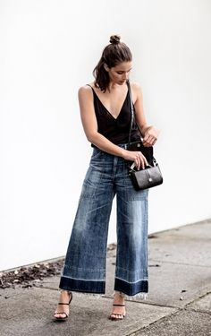 ecstasymodels: Cropped Wide Leg Denim Wearing: J brand black...