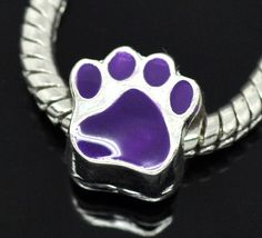 Silver Plated Enamel Purple Animal Paw Charm Bead [B14599] - $3.00 : Get Me Beads!, Get Affordable Beads